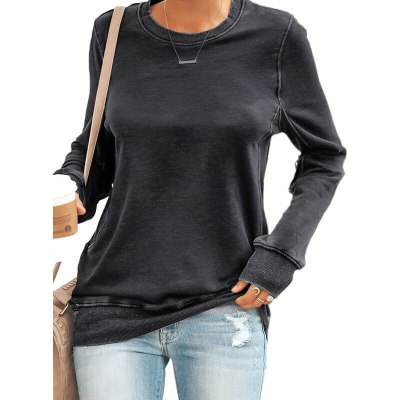 Casual Winter New Arrival Solid Color Ladies Long-Sleeved o-Neck  Tops