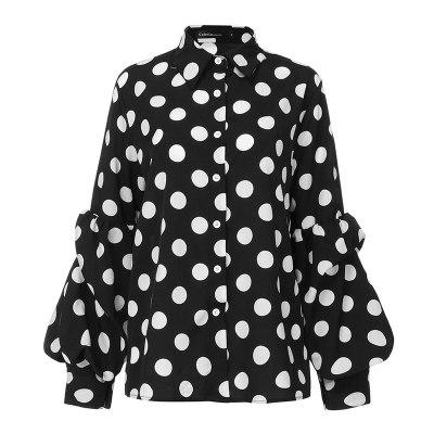 Fashion Women Long Puff Sleeve Lapel Buttons Casual Shirt