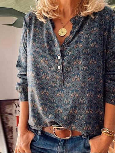 Autumn Women Vintage Print Button Elegant V Neck Pullover Casual Tops