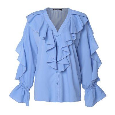Women Blouses Summer Ruffled Stylish Sexy V-neck Long Sleeve Shirt