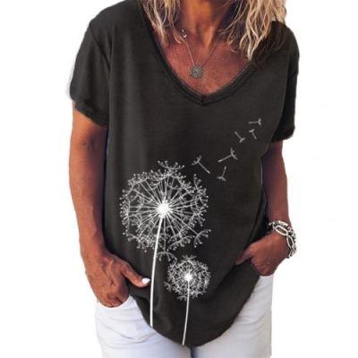 Women Short Sleeve V Neck  Print Loose T-shirt Blouse Top