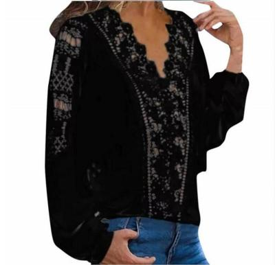 Loose Lace Fashion Sexy V-neck Long Sleeve Women Shirts