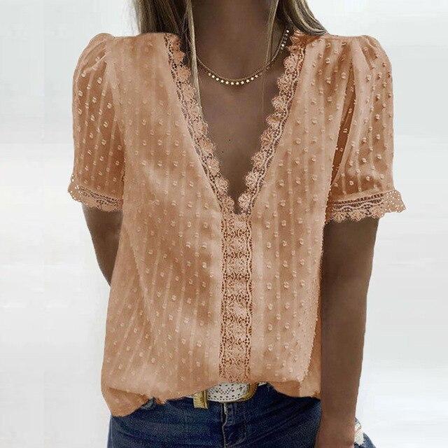 Sexy V-Neck Lace Shirt Blouse Ladies Shirt Solid Pullover Tops