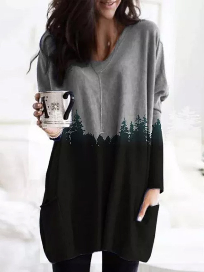 Vintage Blouse Mountain Printed Pullover Long Sleeve Shirts Tops Blouse