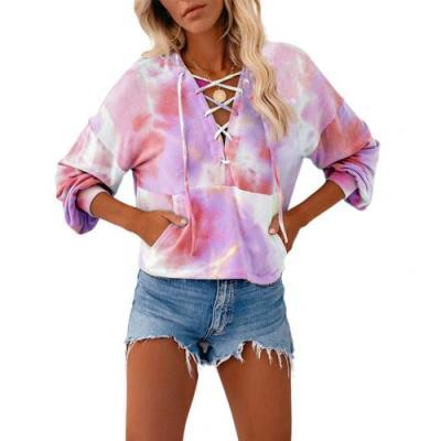 Sweatshirts Women Long Sleeve V-neck Tie-dye Printed Hooded Pocke