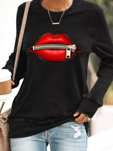 Autumn Women's Printed Round Neck Long Sleeve  Casual Sweatshirts  Tops