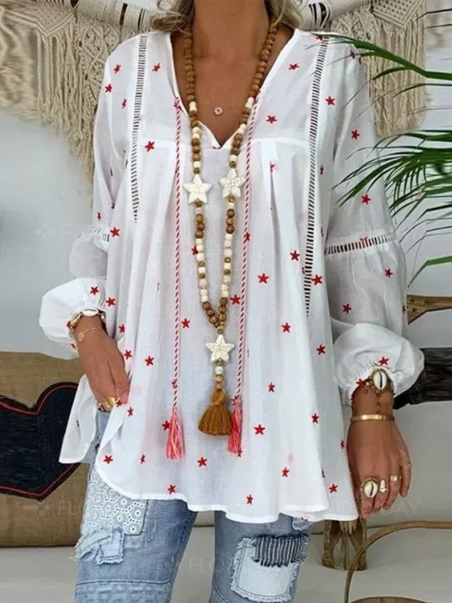 White Blouse For Women Casual Lantern Long Sleeve Hollow Out Pentagram Printed