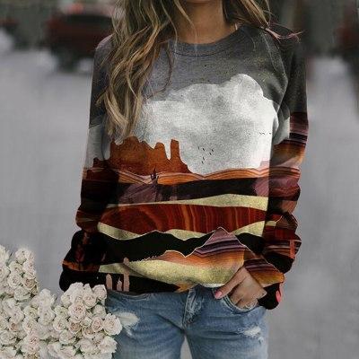 Women's Print Long-sleeved Sweatshirt Casual Blouse Pullover