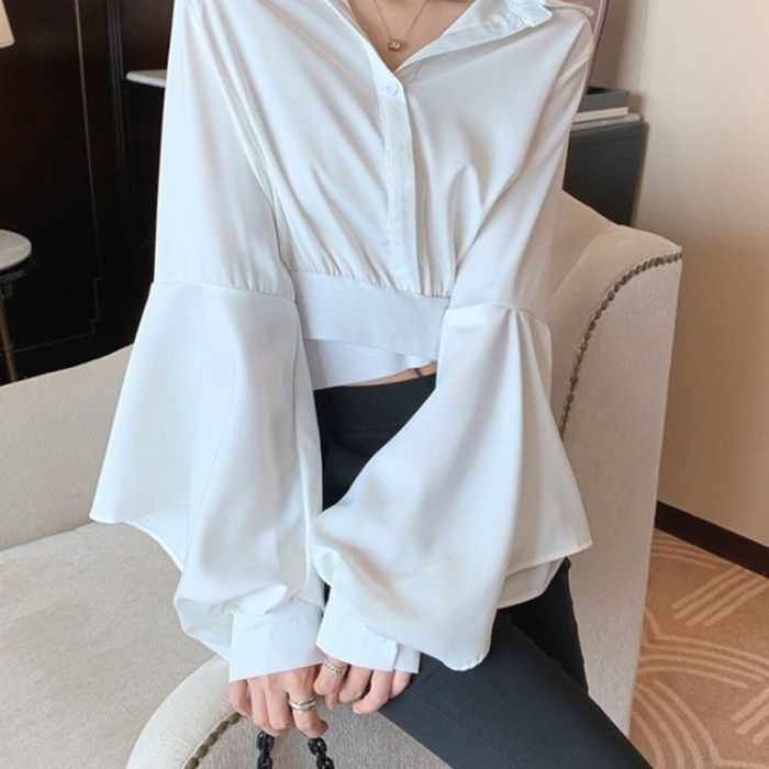 Autumn New Shirts Women V-neck Button Long Sleeve Sexy Casual Crop Tops