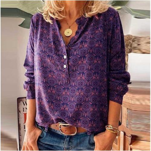 Autumn Women Vintage Print Button Elegant V Neck Pullover Casual Tops