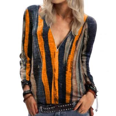 Autumn Women Long Sleeve Zip Neckline Vertical Stripes Tie Dye T-shirt