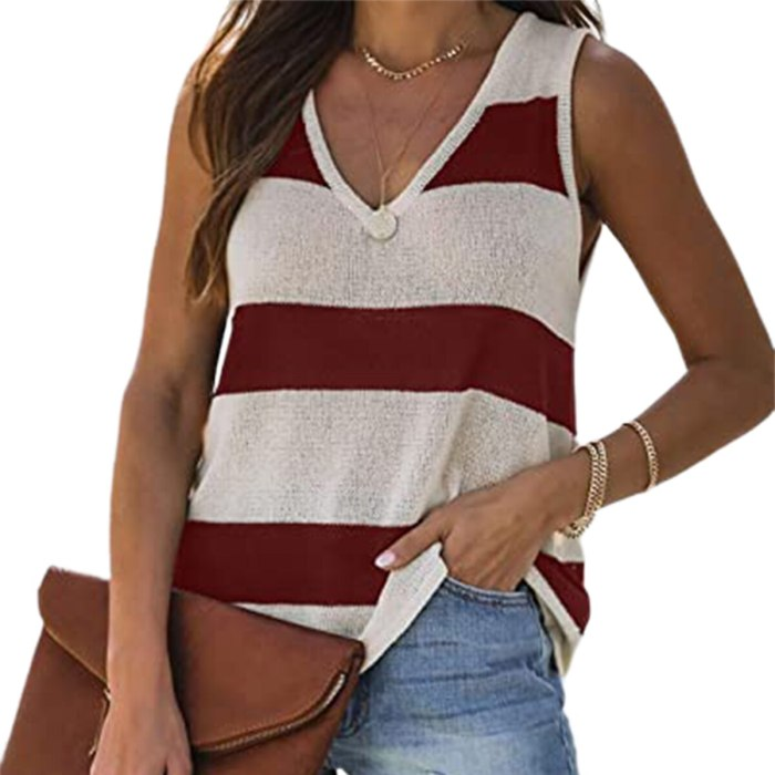 Womens Stripe Vest Fashion Color Stitching V-neck Slim Sleeveless Bottoming Tops