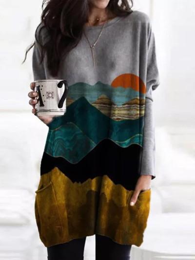 Women Mountain Printed Pullover Long Sleeve Sweatshirt dress