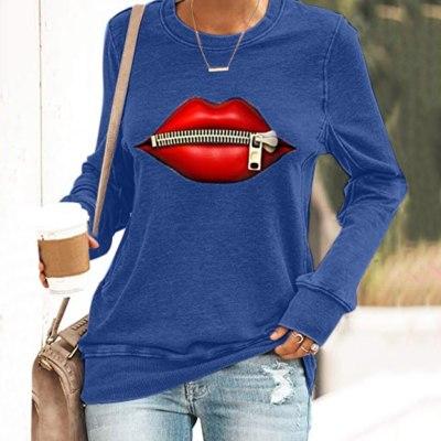 Autumn Women's Printed Round Neck Long Sleeve  Casual Sweatshirts  Tops