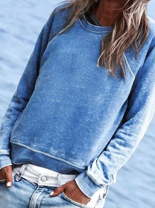 Autumn and Winter New StyleSolid Color Crew Neck Long Sleeve Casual Loose Tops