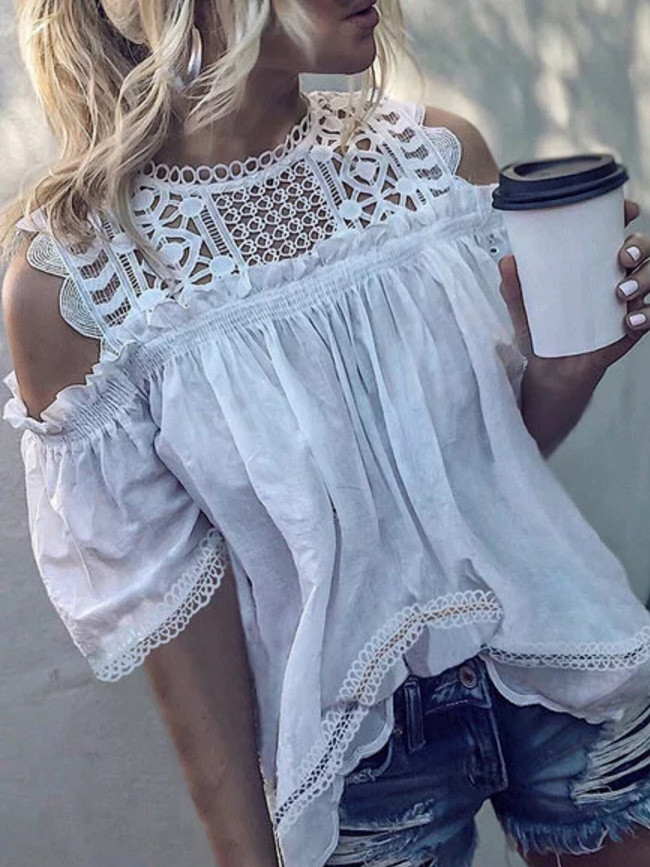 Women blouses Lace Hollow Out Chiffon Short Sleeve Solid Off Shoulder Casual Top