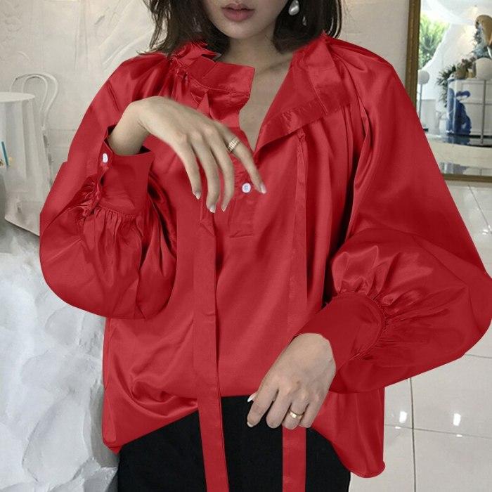 Vintage Women Polka Dot Blouse Lantern Sleeve Casual Shirt