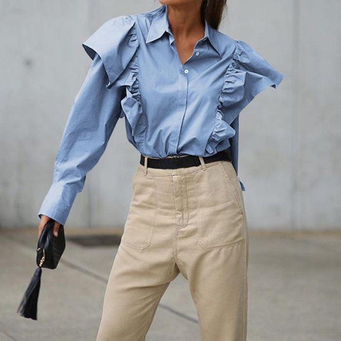 Autumn Long Sleeve Shirts Lapel Solid Fashion Blouse Buttons Casual Loose