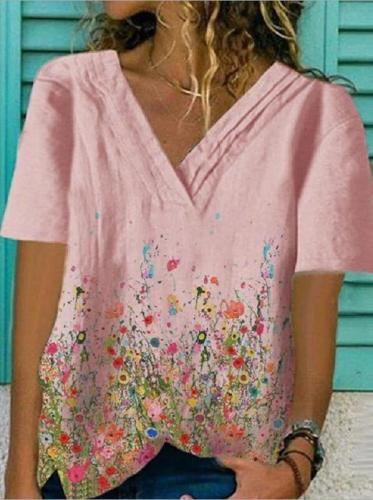 Latest Model Flower Print Position V-neck Short Sleeve Casual Tops