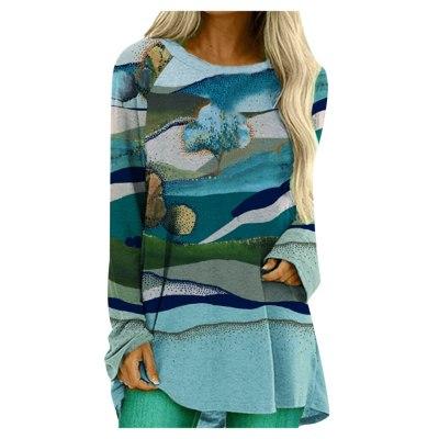 Women Landscape Print O-neck Long Sleeves Loose Tops Blouse