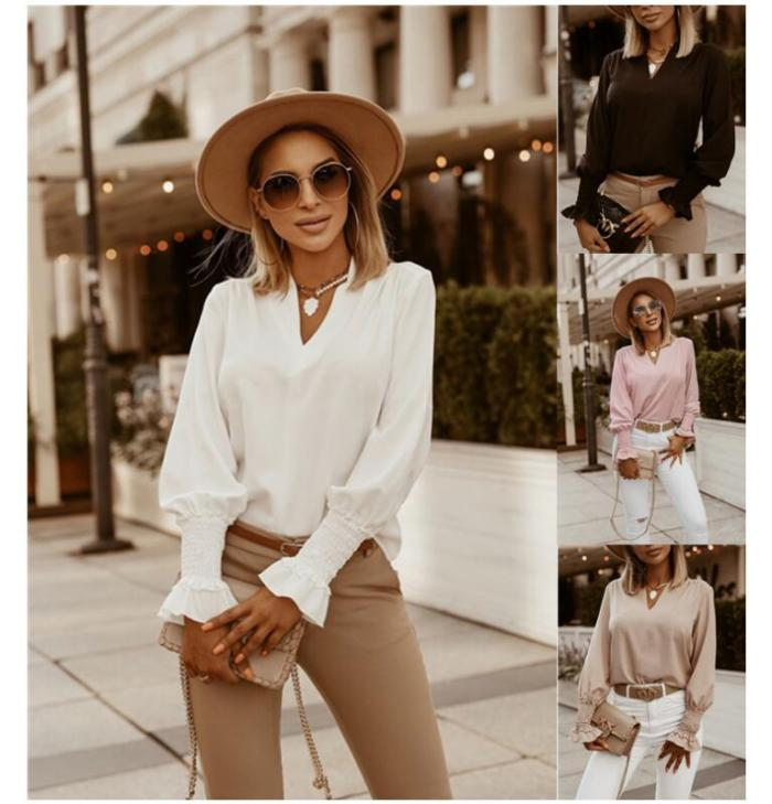 Deep V-Neck Solid Blouse Shirts Women Casual Loose Long Sleeve Tops Pullover