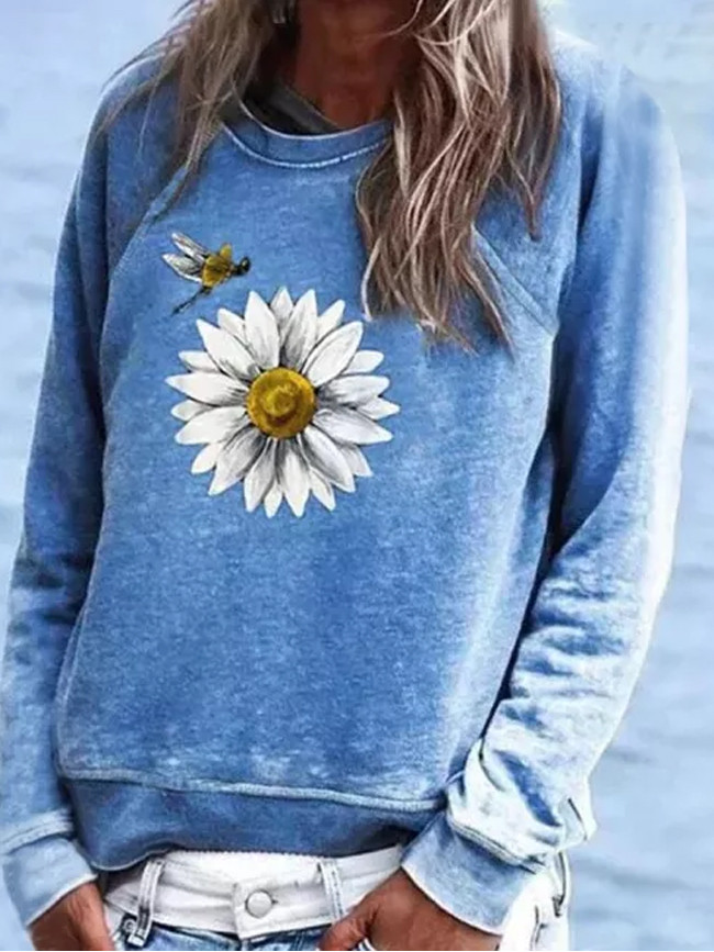 Women Clothes Fashion Casual Printed Long Sleeve Round Neck Sweatshirt Tops