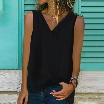 Linen Tops Shirt Ladies V Neck Loose Sleeveless Tee Vest