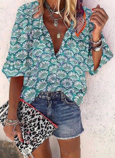 New Women Chiffon Casual Leaf Printed Shirts Elegant V Neck  Long Sleeve
