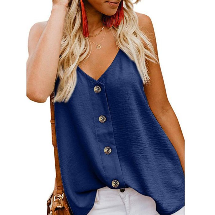 Casual Tops Sleeveless Buttons Adjustable V-Neck Chiffon Blouses