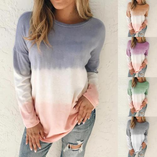 Women Casual Tie Dye Printing Long Sleeve O Neck Sweatshirt Top