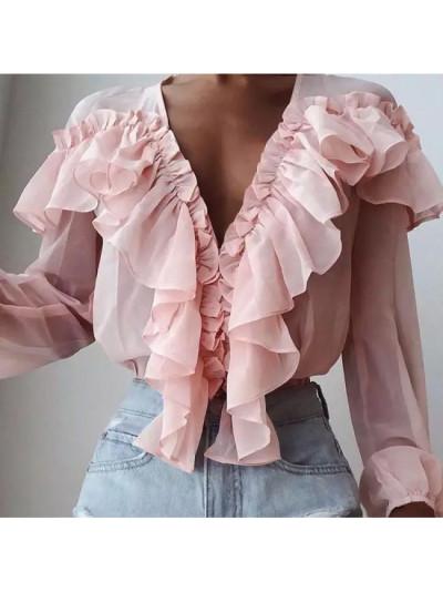 Women Summer Spring Long Sleeve Fashion Blouse Ruffles Sexy Deep V-Neck Elegant