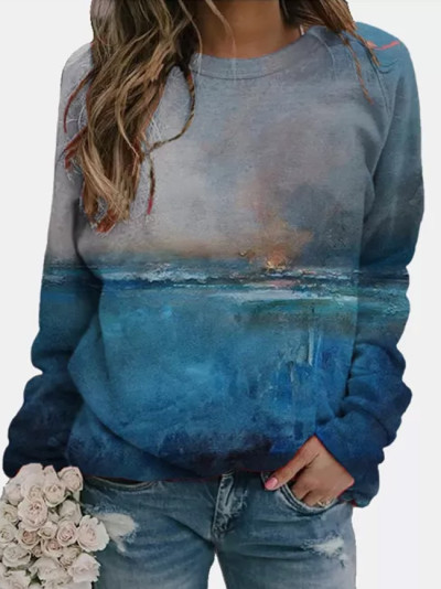 Women Fashion Landscape Print O-neck Long Sleeves Causal Loose Tops Blouse