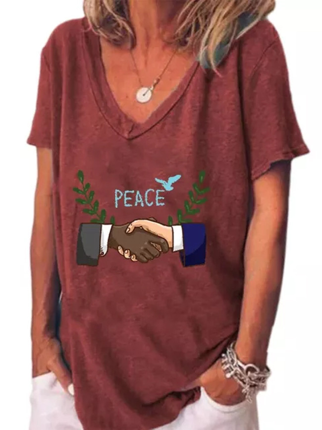 Women Handshake Sleeve V-Neck Summer Casual Tops