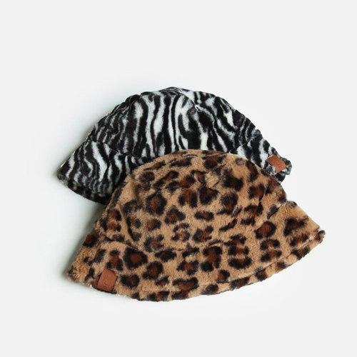 New Leopard Printed Women Bucket Cap Winter Woolen Fleece Thick Warm