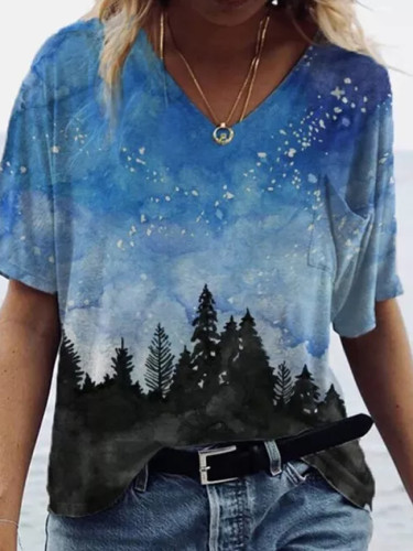 Women Autumn Fashion Loose V Neck print Casual T-Shirt