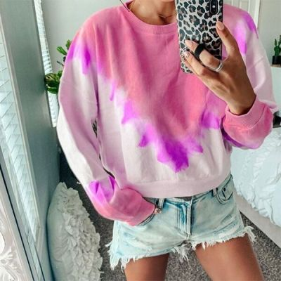New Gradient Color Long-Sleeve Round Neck Casual Loose Women Casual Tops