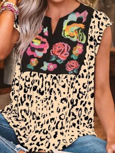 Women Leopard Printed Summer Sleeveless V-neck Loose Blouses