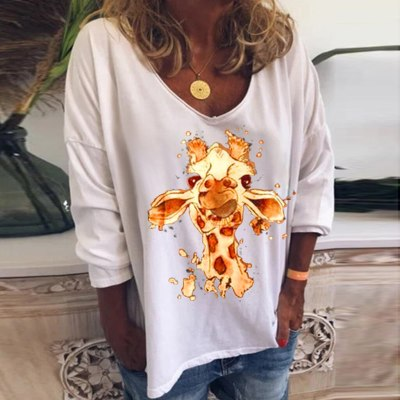 Women Casual Animal Print O-Neck Long Sleeves Loose Tops