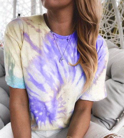 Summer Round Neck Loose Short Sleeve Fashion Gradient Colour Ladies T-Shirts