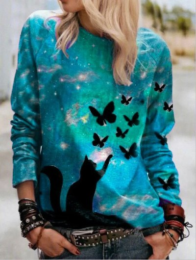 Women's Long-Sleeved Casual Round Neck Loose Spring and Autumn Tops
