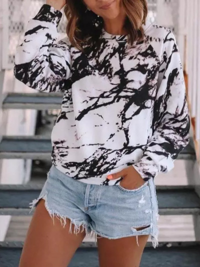 Autumn and Winter Long Sleeve Printed Loose O Neck Women's Casual Top