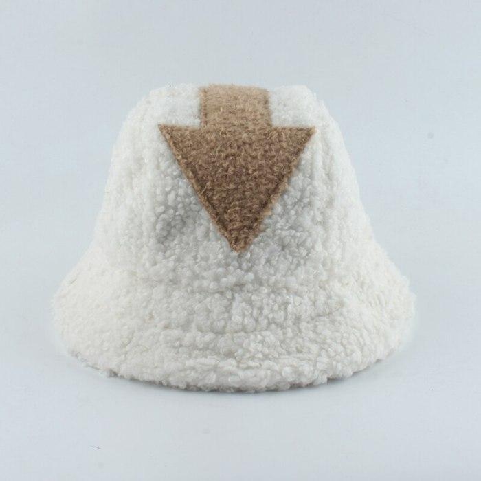 Fashion White Lamb Wool Fisherman Hat Arrow Symbol Bucket Hats