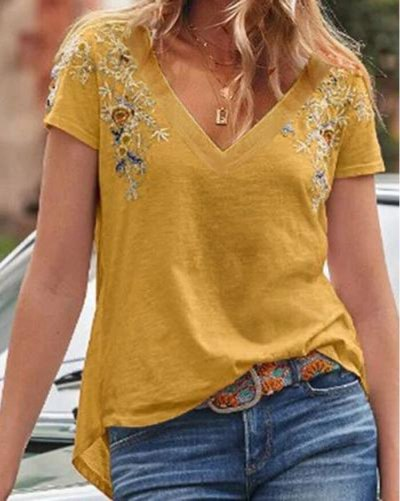 Women Embroidered V-neck Slim Summer Fashion Casual Women's Tops