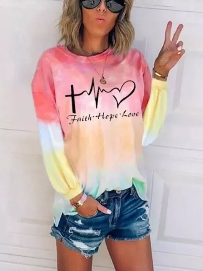 Autumn New Women's Gradient  Round Neck Long-Sleeved Printed Letter  Casual Top
