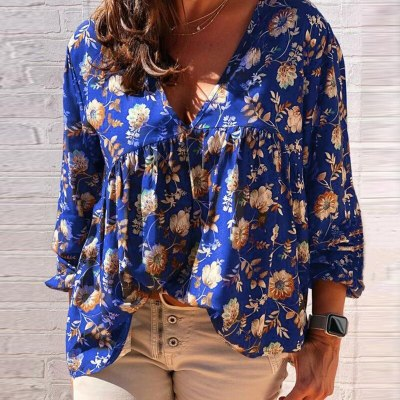 New Autumn Fashion Wild V-neck Women Loose Casual Long-Sleeved Printing Top