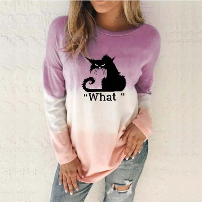 Women Round Neck Printed Long Sleeve Casual Loose Print Spring and Autumn Top