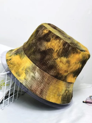 Corduroy Winter Bucket Hat Tie Dye Soft Warm Fishing Cap