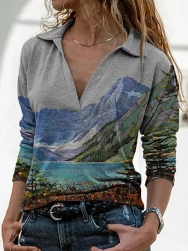 Women Spring And Autumn Casual Slim Lapel Long-Sleeved Printing T-Shirt