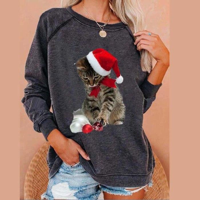 Women's Christmas Cat T-Shirt New Style Round Neck Long Sleeve T-Shirt