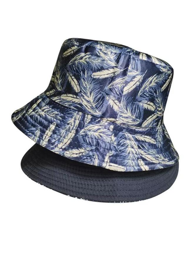 Feather Print Fisherman Bucket Hat Summer Outdoor Leisure Travel Sun Hat